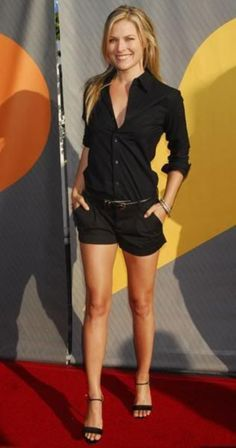 Cute summer outfit, Ali Larter! via Passionate black on black outfit Ideas0291
