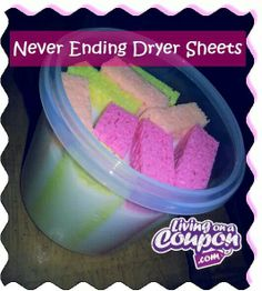 1c favorite fab sofner 2c water in a sealed reusable container. Cut 4 sponges in 1/2 squeeze out excess liquid pop in dryer run cycle. Put dry sponge back in liquid for next use! What a money saver an it really works!