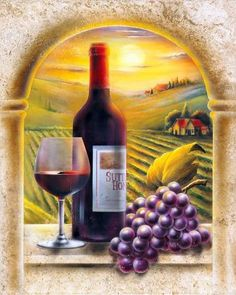 Red Wine Bottle Grapes Vineyard Country Wine Glass