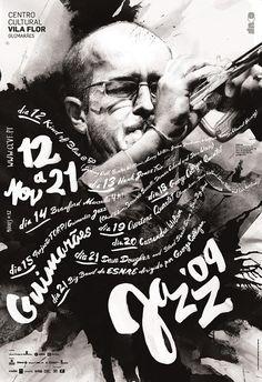 guimaraes jazz 2009 02 poster by atelier martino&jaña Design Graphique, Art Graphique, Graphic Design Typography, Graphic Design Illustration, Graphic Posters, Cover Design, Cool Poster Designs, Handwritten Text, Jazz Poster