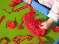 Playing with RED play dough