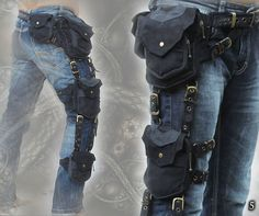 Trail Tracker Belt - triple one leg pocket grip belt - cosplay steampunk style tomb raider extension hip waist pocket thigh bags belt Cosplay Steampunk, Steampunk Fashion, Tribal Images, Thigh Bag, Black And Navy, Leather Working, Raiders, Thighs, Creations