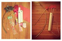 Just finished this, DIY Cupid Bow and arrow all you need is Gold spray and some imagination ! Valentine baby !!!