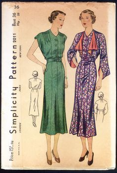 Simplicity 2011 | 1930s Ladies' Dress With Jabot Trim