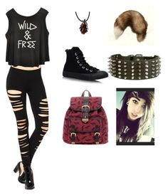 """""""Wolf Therian casual"""" by thatwolfyscenegirl ❤ liked on Polyvore featuring Maison Kitsuné and Converse"""