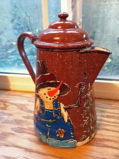 Fall / Winter painted coffee pot