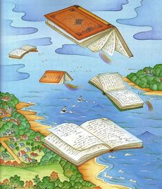 Flying books looking readers / Vuelan los libros buscando lectores (ilustración de Chi Chung)