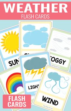 Free Printable Weather Flash Cards is part of Preschool weather - Weather Activities Preschool, Teaching Weather, Free Preschool, Preschool Science, Preschool Learning, Classroom Activities, In Kindergarten, Learning Activities, Preschool Activities