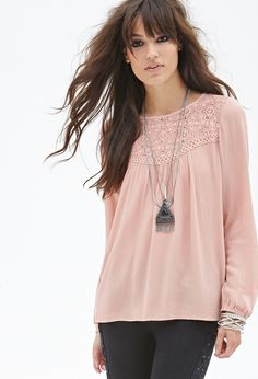 Crochet Lace Crepe Top | Forever 21 - 2000085155