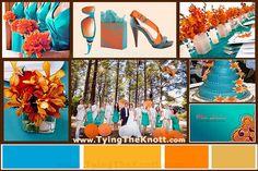 Teal and orange wedding color scheme