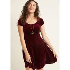 Scoop-Neck Velvet Skater Dress (€50) ❤ liked on Polyvore featuring dresses, red mini dress, short-sleeve skater dresses, mini dress, sparkly dresses and short-sleeve dresses