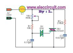 The AC light dimmer circuit can control light bulb or speed AC motor, we use a TRIAC and SCR as main, and adjust potentiometer and switch. Ac Circuit, Electric Circuit, Home Electrical Wiring, Electrical Switches, Electronics Basics, Electronics Projects, Ac Fan, Power Supply Circuit, Electronic Circuit Projects