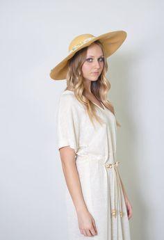 Vintage Floppy Hat 40s Straw Floral Hat Wide Brim Garden Party Hat Sun Hat Festival Coachella on Etsy, $50.00