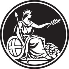 The logo of the Bank of England' this portrays Britannia with a mound of coins next to her, holding a sprig, symbolising growth.