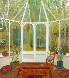 Sunday Papers by Melissa Launay, Fine Art Greeting Card, Gouache on Paper, Summer garden view from conservatory Fields In Arts, Greeting Cards Uk, Sunday Paper, Through The Window, Open Window, Sketchbook Inspiration, Naive Art, Summer Garden, Landscape Art