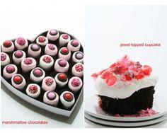 Marshmallow chocolates, jewel topped cupcakes