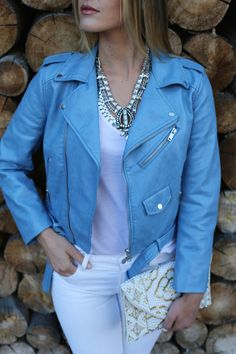 blue leather + statement necklace + white jeans
