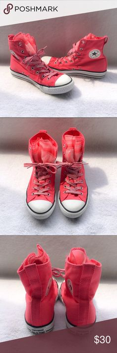 💖Converse Pink All Star High Tops💖 Super cute and girly. Big kids size 5 and they fit a women's size 7. Worn only a handful of times and in like new condition. NO SHOE BOX for these. I'm only looking to sell at this time so sorry but no trades. My listing price is firm. Converse Shoes Athletic Shoes