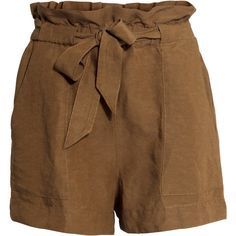H&M Shorts with a tie belt ($14) ❤ liked on Polyvore featuring shorts, h&m, pants, short, brown, brown shorts, woven shorts, short shorts, elastic waistband shorts and elastic waist shorts