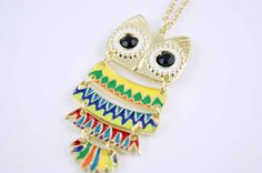 colorful Owl necklace pendant charm  ON0243 by lucy198810 on Etsy, $2.99