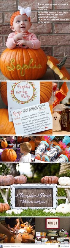 Creative Pumpkin Party Ideas--- I like the name carved into the pumpkin Only want the name part