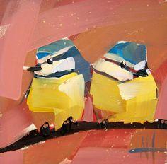 Two Blue Tits no. 9 original bird oil painting by Angela Moulton prattcreekart