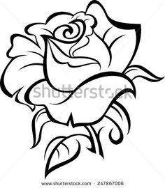 collection of fresh black outline rose tattoo design Rose Outline Drawing, Rose Drawing Simple, Rose Drawing Tattoo, Leaf Drawing, Tattoo Design Drawings, Outline Drawings, Pencil Art Drawings, Easy Drawings, Simple Rose