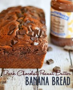 This dark chocolate peanut butter banana bread is the ultimate in decadence!