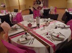 Mariage d coration de table gris rose et blanc instinct d co deco pi - Chemin de table pour table ronde ...