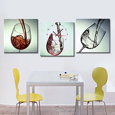Modern Style Wine-glass Wall Clock in Canvas 3pcs – USD $ 69.99