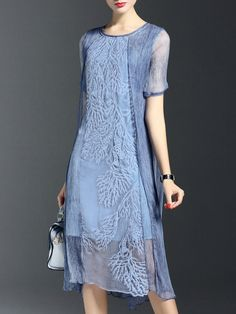 Crew Neck Short Sleeve Silk Vintage Midi Dress - StyleWe.com