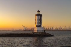 Angels Gate Lighthouse - This historic lighthouse has marked the entrance to the Port of Los Angeles since 1913. It is the only lighthouse to use a rotating green light. Located on the San Pedro Breakwater, California.