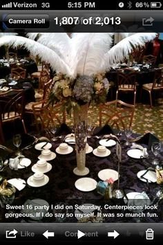 """This was another Masquerade  Sweet 16 I did a few years ago.  The centerpieces stood 5' above the table. 24"""" crystal and mirrored vases. Hydrangeas, roses, wax, and seeded eucalyptus and many other flowers Comprised another foot of the height. And If that wasn't enough. 24"""" Ostrich feathers Stretched out to make this an elegant piece."""