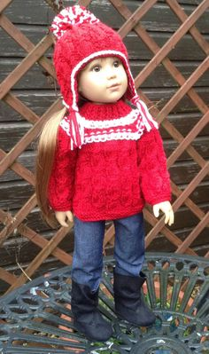 HAND KNIT OUTFIT FOR DESIGNA FRIEND OR KIDZ N CATS 18inch SLIM BODIED DOLL