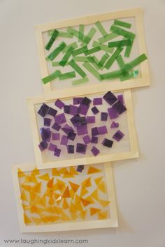 Decorative colour sorting activity using contact paper and colored cellophane