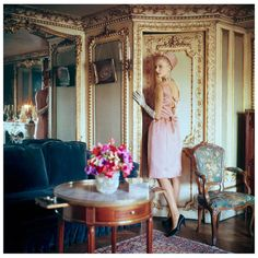 Model in Apartments of Suzanne Luling, 1960  Seen here in the apartments of Suzanne Luling, Dior's right hand and elusive directrice- is m...