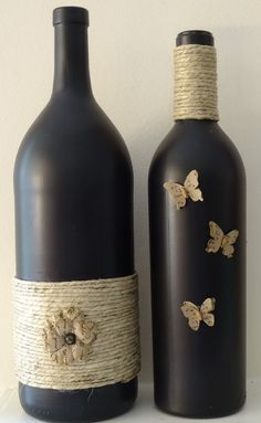Black painted wine bottle with twine and butterflies