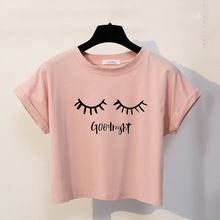 Горячая цена Merry Pretty New Summer Fashion Women Solid Pink Punk Style O-neck Short Sleeve T-shirt Letter & Eyelash Printed Crop Top Tees . Cropped Tops, Cute Crop Tops, Crop Top Styles, Blusas Crop Top, Crop Top Shirts, Teenager Mode, Harajuku Fashion, Harajuku Style, T Shirts For Women