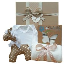 Gorgeous Kate Finn spotty horse rattle along with Bubba Blue organic baby clothing and organic baby wrap. Baby Gift Hampers, Organic Baby Clothes, Baby Wraps, Long Sleeve Bodysuit, Baby Bibs, Baby Shower Gifts, Horses, Clothing, Blue