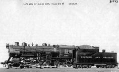 Photo Credit: N&W Railway Company. Shown here is Norfolk and Western M-2 Class steam locomotive #1147 shot in Roanoke, Virginia on December 12, 1945.