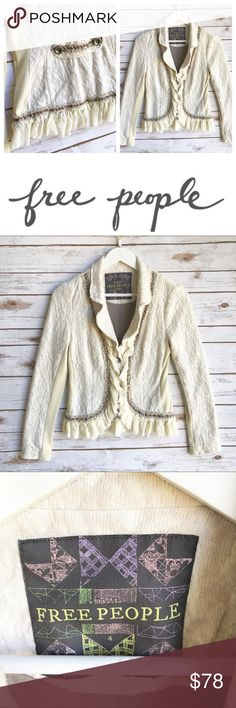 FREE PEOPLE Ruffled Boho Blazer FREE PEOPLE Ruffled Boho Blazer. Size 4. TTS. Lovely peplum shape. Ruffle accents. Beautiful piece! Thank you for looking and please check out the rest of my closet. Free People Jackets & Coats Blazers