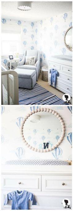Such a sweet baby boy nursery. Really love the beautiful air balloon wallpaper! #babyboy #boynursery #bluenursery #airballoonnursery #nursery #wallpaper #affiliate #nurseryinspiration