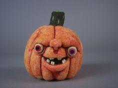 Toothy Pumpkin OOAK Needle Felted by aronlowe on Etsy