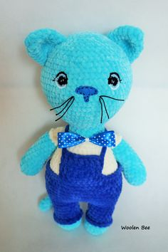 Crochet cat. Handmade. Plushy cat is ideal for children. It`s unique gift.