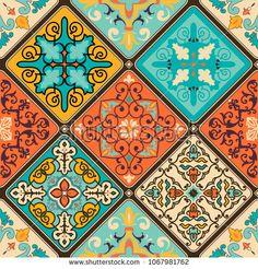Seamless colorful patchwork tile with Islam, Arabic, Indian, ottoman motifs. Portuguese and Spain decor. Graphic Patterns, Tile Patterns, Pattern Art, Print Patterns, Ceramic Tile Art, Ceramic Design, Arabesque, Patchwork Tiles, Paisley Art
