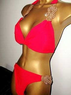 2be860a11f SEXY LADIES RED PADDED HALTERNECK JEWELLED BIKINI SET SIZE 18 20  fashion   clothing  shoes  accessories  womensclothing  swimwear (ebay link)