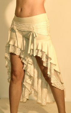 Skirted Deadwood Bloomers In Cream Lace and Bamboo French Terry. $140.00, via Etsy.
