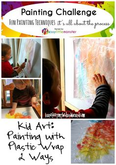 Kid Art: Painting with Plastic Wrap Two Ways for Preschoolers and Toddlers ~ Painting Challenge