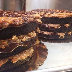 What's better than a German chocolate cake? Two German chocolate cakes... #drooling #germanchocolate #cake #torte #nakedcake #nake #germanchocolatecake #chocolate #glaze #coconut #pecans #boulder #colorado #bakery