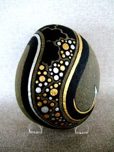 Painted Galaxy Design Rock, Black, Gold and Silver Stars